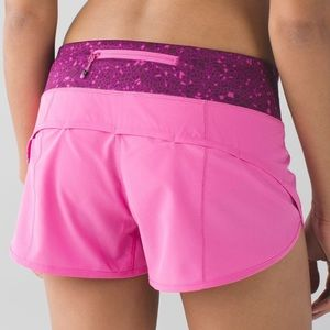Lululemon | Pink Printed Band Speed Shorts